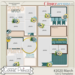 #2020 March - 12x12 Template Pack (CU Ok) by Connie Prince