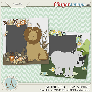 At The Zoo Lion & Rhino Templates by Ilonka's Designs
