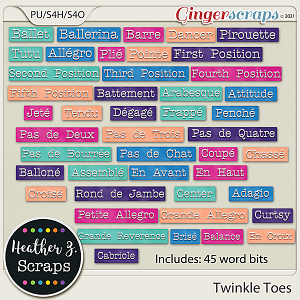 Twinkle Toes WORD BITS by Heather Z Scraps
