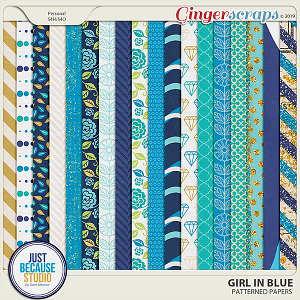 Girl In Blue Patterned Papers by JB Studio