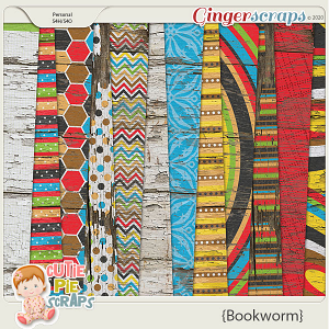 Bookworm Wood Papers By Cutie Pie Scraps