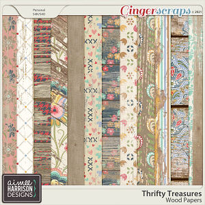 Thrifty Treasures Wood Papers by Aimee Harrison