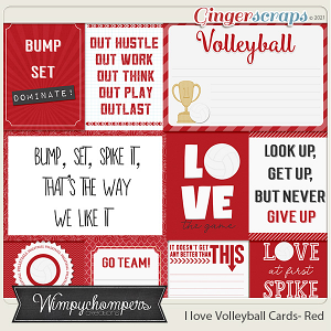 I Love Volleyball Cards- Red