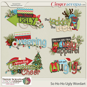 So Ho Ho Ugly Wordart by Trixie Scraps Designs