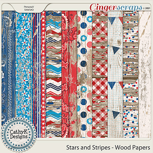 Stars and Stripes - Wood Papers by CathyK Designs