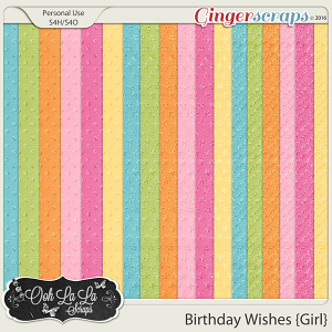 Birthday Wishes Girl Glitter Patterned Papers