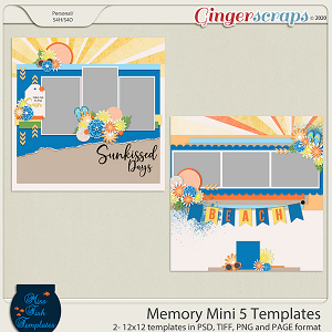 Memory Mini 5 Templates by Miss Fish