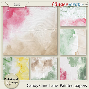 Candy Cane Lane  Painted papers