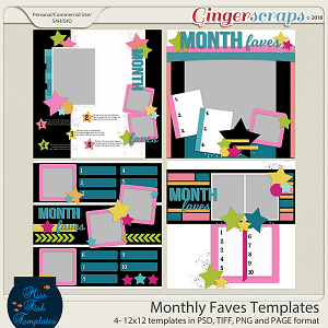 Monthly Favorites Templates by Miss Fish