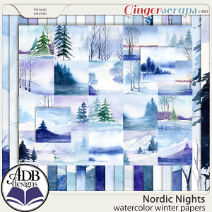Nordic Nights Watercolor Papers by ADB Designs