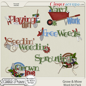 Grow & Mow - Word Art