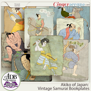 Akiko Vintage Samurai Bookplates {DOTW - Japan} by ADB Designs