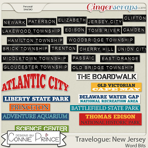 Travelogue New Jersey - Word Bits by Connie Prince