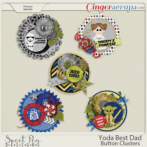 Yoda Best Dad Button Clusters