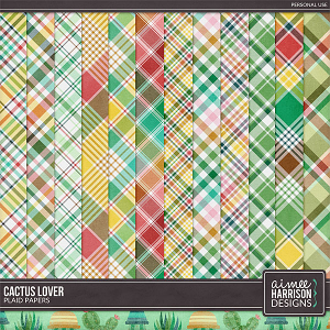 Cactus Lover Plaid Papers by Aimee Harrison