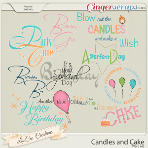 Candles and Cake Word Art