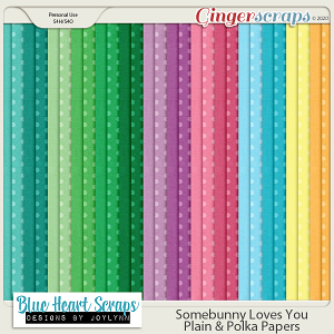 Somebunny Loves You Plain and Polka Papers