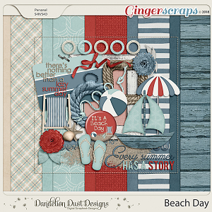 Beach Day Digital Scrapbook Kit By Dandelion Dust Designs