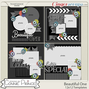 Beautiful One - 12x12 Templates (CU Ok) by Connie Prince