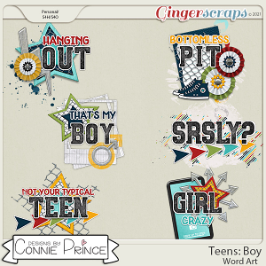 Teens: Boy - Word Art Pack by Connie Prince