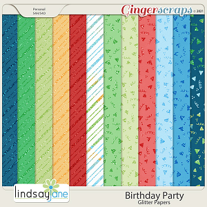 Birthday Party Glitter Papers by Lindsay Jane