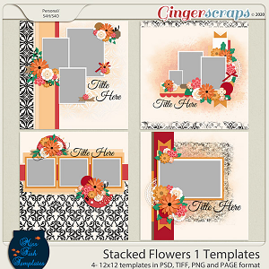 Stacked Flowers 1 Templates by Miss Fish