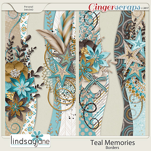 Teal Memories Borders by Lindsay Jane