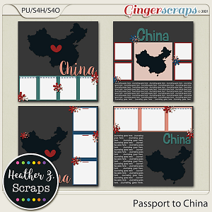 Passport to China TEMPLATES by Heather Z Scraps
