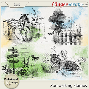 Zoo walking Stamps