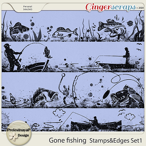 Gone fishing Stamps & Edges Set1