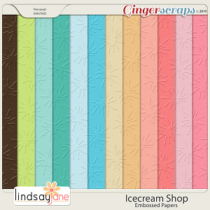 Icecream Shop Embossed Papers by Lindsay Jane