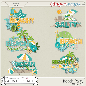 Beach Party - Word Art Pack by Connie Prince