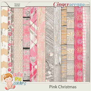 Pink Christmas Worn & Wood Papers