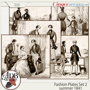 Heritage Resource - Fashion Plates Set 2 Summer 1841 by ADB Designs