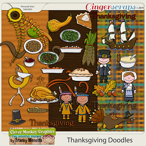 Thanksgiving Doodles by Clever Monkey Graphics