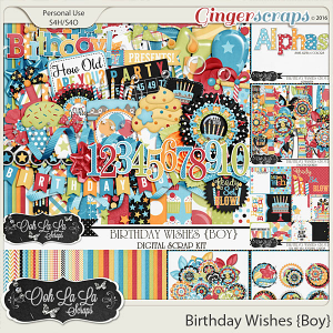Birthday Wishes Boy Digital Scrapbooking Bundle