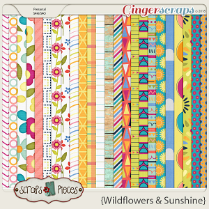 Wildflowers and Sunshine papers by Scraps N Pieces
