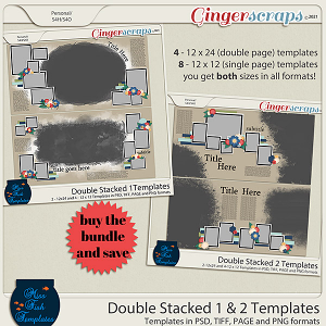 Double Stacked 1 & 2 Templates Bundle by Miss Fish