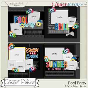 Pool Party - 12x12 Templates (CU Ok) by Connie Prince