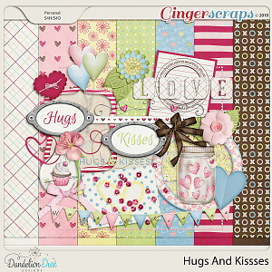 Hugs and Kisses Digital Scrapbook Kit by Dandelion Dust Designs