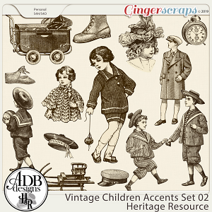 Heritage Resource - Vintage Children Accents Set 02 by ADB Designs