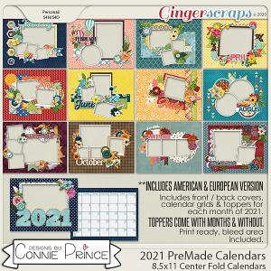 2021 8.5 x 11 PreMade Calendars by Connie Prince