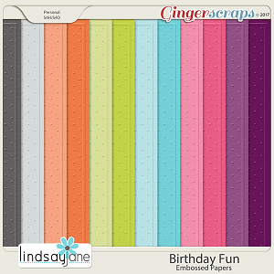 Birthday Fun Embossed Papers by Lindsay Jane