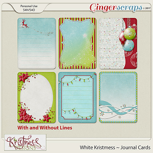 White Kristmess Journal Cards
