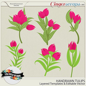 Handrawn Tulips CU/PU Layered Templates by Lisa Rosa Designs