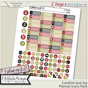 Comfort and Joy Planner Stickers Icons Pack