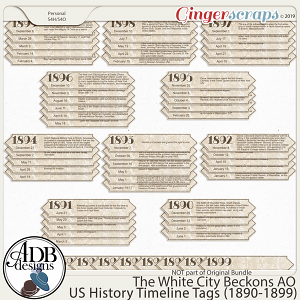 The White City Beckons Add-On Time Line Tags by ADB Designs