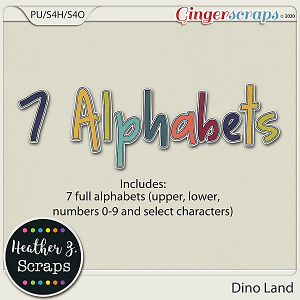 Dino Land ALPHABETS by Heather Z Scraps