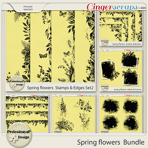 Spring flowers Masks & Stamps Bundle