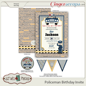 Policeman Birthday Invitation by Scraps N Pieces